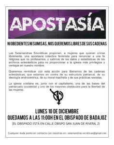 II Apostasía Colectiva Feminista @ Obispado de Badajoz