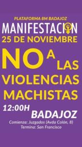 """25-N Manifestación - """"No a las Violencias Machistas"""" @ Juzgados de Badajoz"""