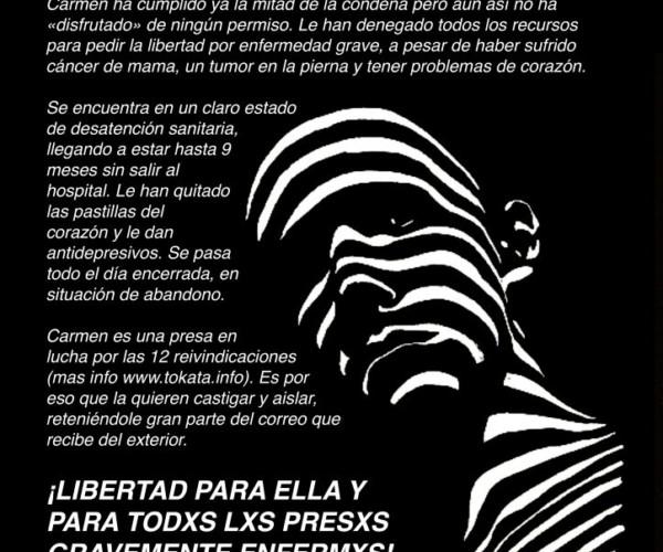 Carmen Badía, Presa en la Cárcel de Zuera, comienza una huelga de hambre.